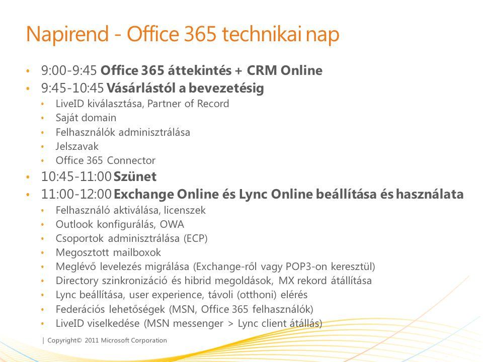 | Copyright© 2011 Microsoft Corporation Napirend - Office 365 technikai nap • 9:00-9:45 Office 365 áttekintés + CRM Online • 9:45-10:45 Vásárlástól a