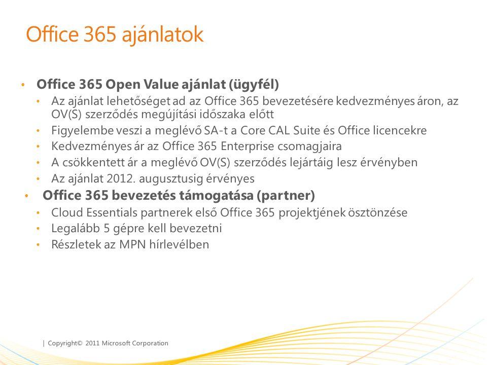 | Copyright© 2011 Microsoft Corporation Office 365 ajánlatok • Office 365 Open Value ajánlat (ügyfél) • Az ajánlat lehetőséget ad az Office 365 beveze