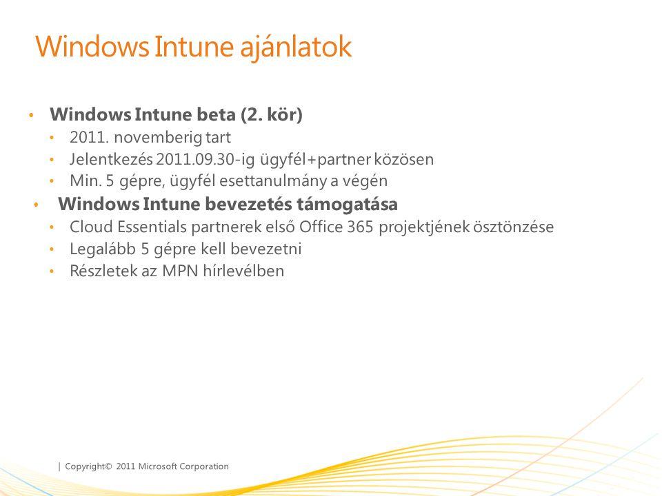 | Copyright© 2011 Microsoft Corporation Windows Intune ajánlatok • Windows Intune beta (2. kör) • 2011. novemberig tart • Jelentkezés 2011.09.30-ig üg
