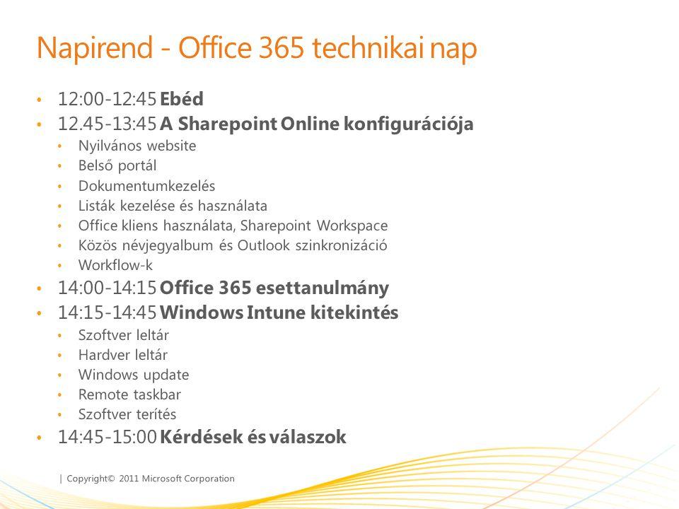 | Copyright© 2011 Microsoft Corporation Napirend - Office 365 technikai nap • 12:00-12:45 Ebéd • 12.45-13:45 A Sharepoint Online konfigurációja • Nyil