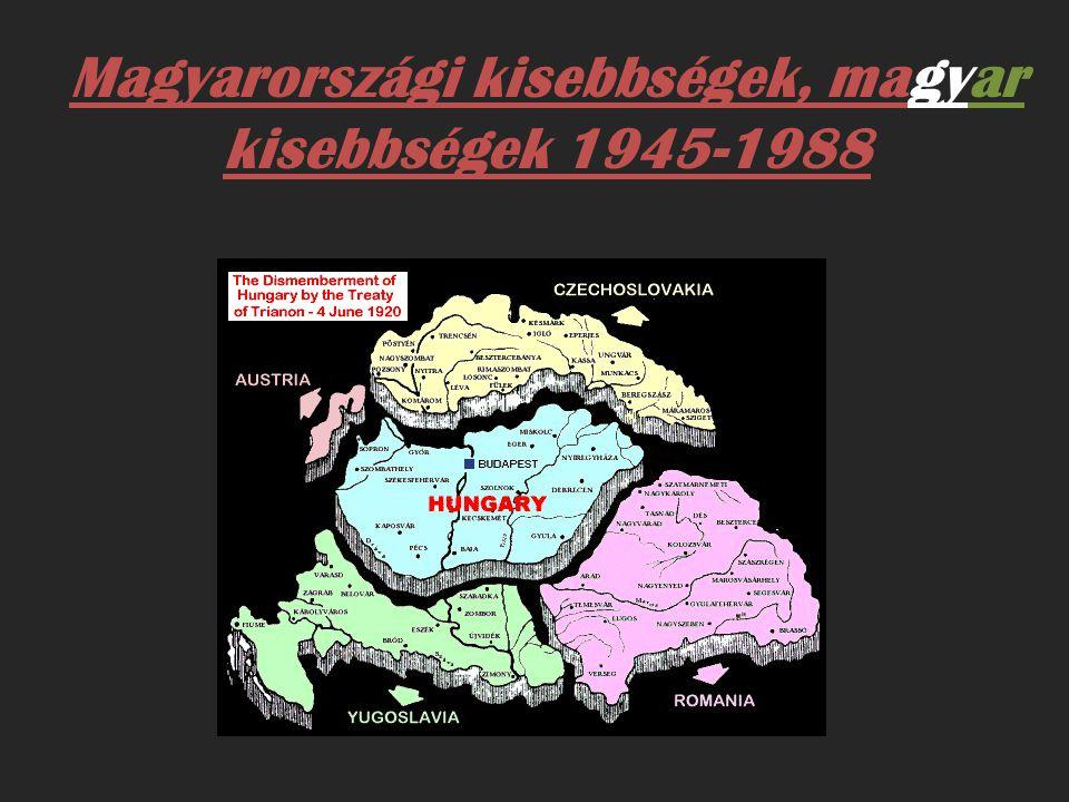 L a kosságcsere és kollektív felel ő sségre vonás - Magyarország és a környez ő országok nemzetiségi viszonyainak rendez ő dése 1945 után - 1949-ig 376 ezer magyar költözött vagy menekült vissza az elcsatolt területekr ő l - A potsdami szerz ő dés értelmében a magyarországi németeket hazatelepítik - A potsdami konferencia befejezése után Vorosilov marsall újra és nyomatékosan felszólította a magyar kormányt a SZEB-et (Szövetséges Ellen ő rz ő Bizottság, hogy készítse el 450 ezer magyarországi német kitelepítésének tervét.)