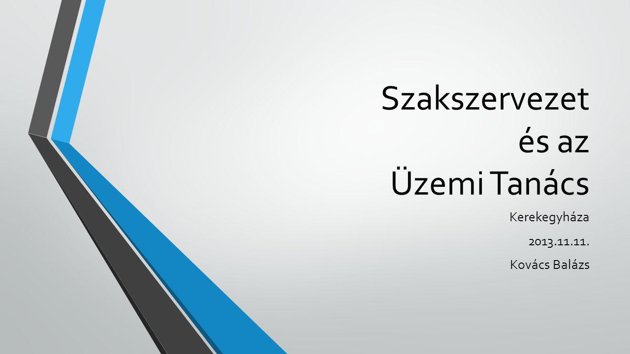 Szakszervezet és az Üzemi Tanács Kerekegyháza 2013.11.11. Kovács Balázs