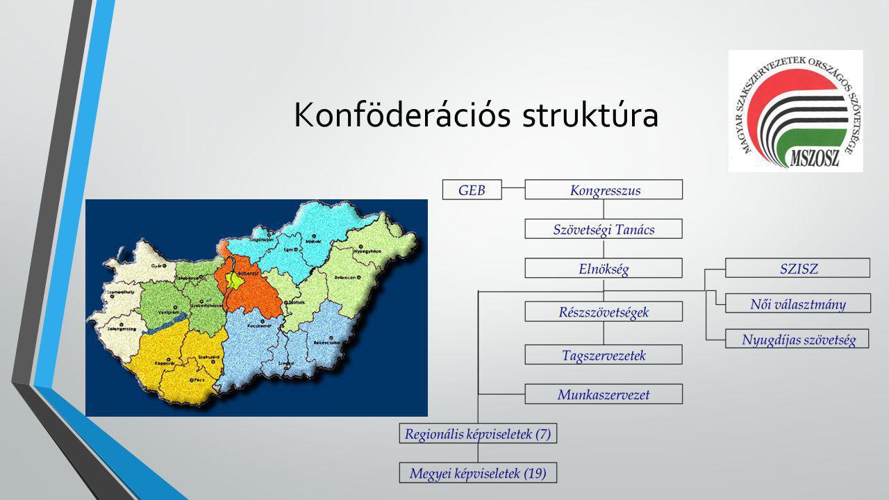 Részszövetségek • Ipari-, energiaipari ágazat szakszervezetei (7) • Közszféra szakszervezetei (8) • Mezőgazdaság és élelmiszeripar szakszervezetei (8) • Közlekedési ágazat szakszervezetei (3) • Szolgáltatási ágazat szakszervezetei (6) • Közüzemi és egyéb szakszervezetek (5)