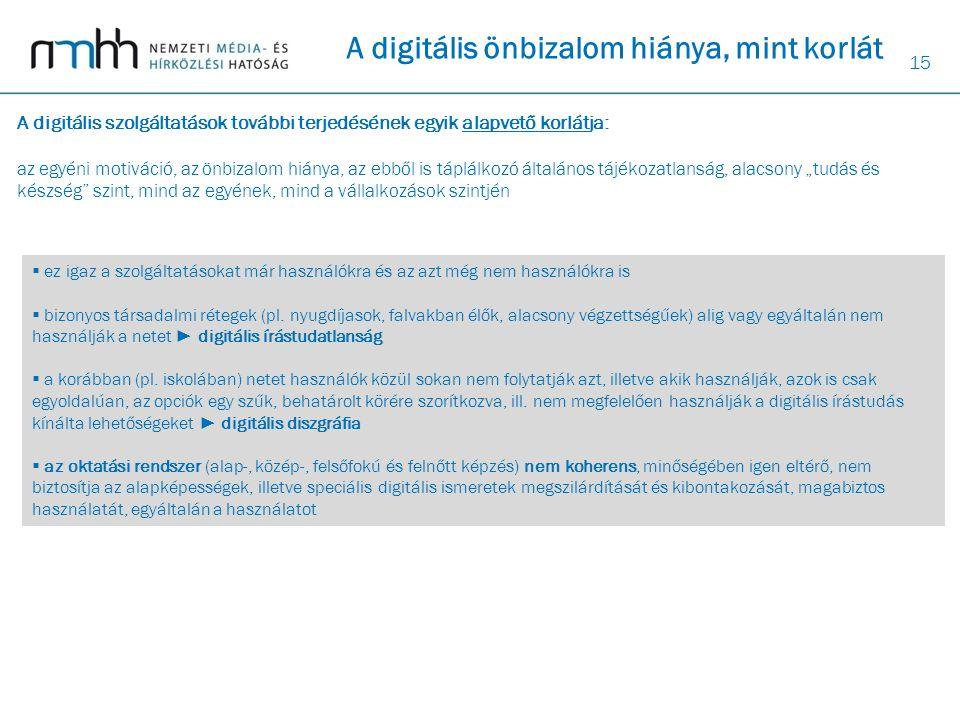 15 A digitális önbizalom hiánya, mint korlát A digitális szolgáltatások további terjedésének egyik alapvető korlátja: az egyéni motiváció, az önbizalo