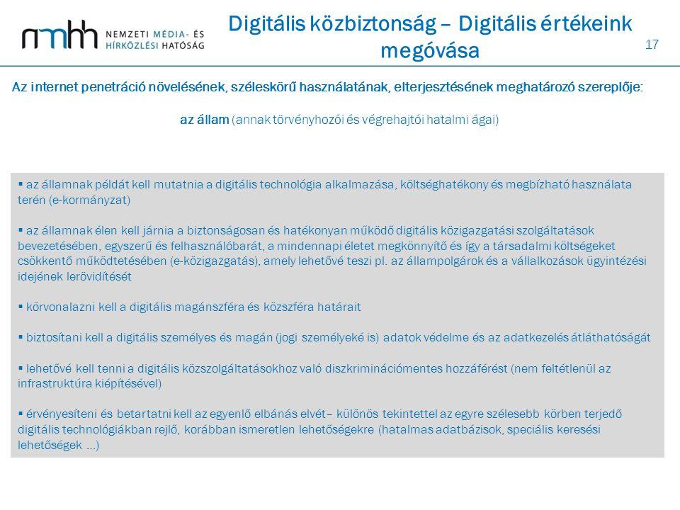 17  az államnak példát kell mutatnia a digitális technológia alkalmazása, költséghatékony és megbízható használata terén (e-kormányzat)  az államnak