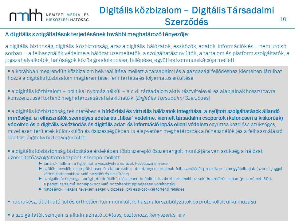 18 Digitális közbizalom – Digitális Társadalmi Szerződés  a korábban megrendült közbizalom helyreállítása mellett a társadalmi és a gazdasági fejlődé