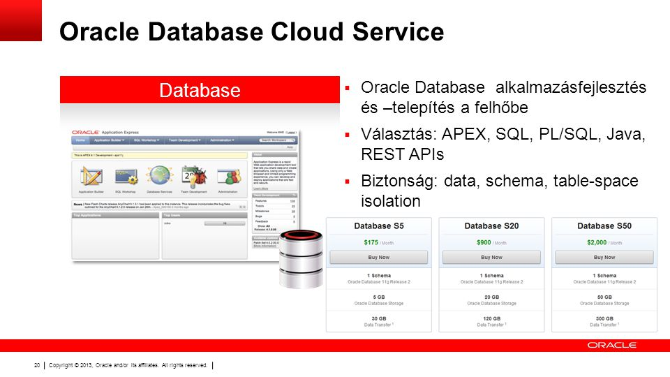 Copyright © 2013, Oracle and/or its affiliates. All rights reserved. 20 Database Oracle Database Cloud Service  Oracle Database alkalmazásfejlesztés