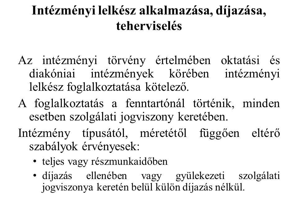Intézményi lelkész alkalmazása, díjazása, teherviselés Az intézményi törvény értelmében oktatási és diakóniai intézmények körében intézményi lelkész f