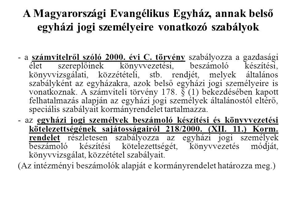 A Magyarországi Evangélikus Egyház, annak belső egyházi jogi személyeire vonatkozó szabályok - a számvitelről szóló 2000. évi C. törvény szabályozza a