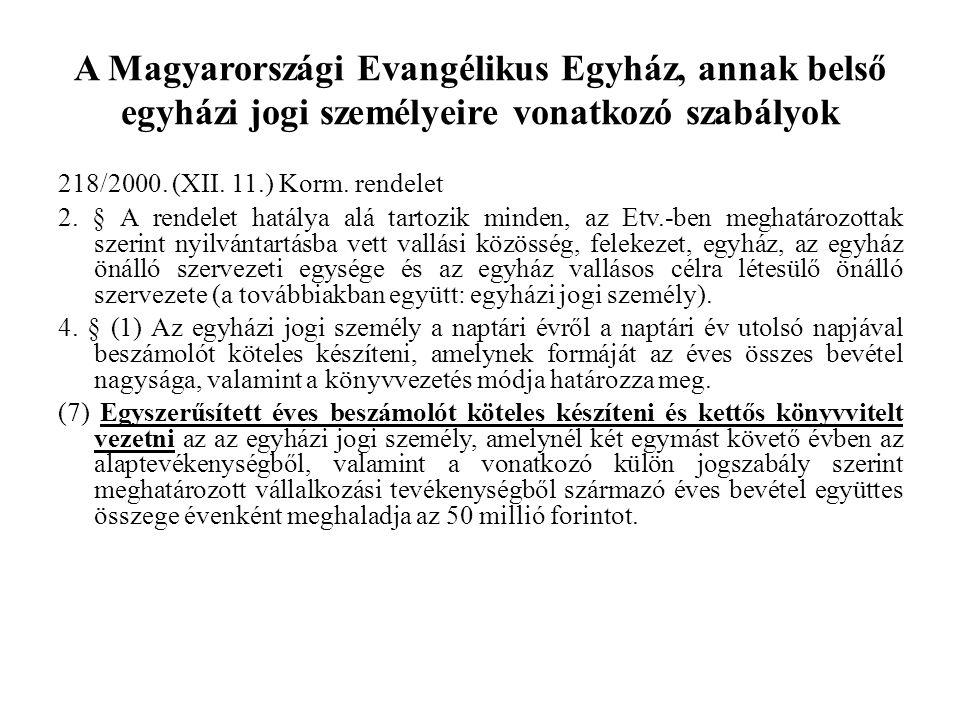 A Magyarországi Evangélikus Egyház, annak belső egyházi jogi személyeire vonatkozó szabályok 218/2000. (XII. 11.) Korm. rendelet 2. § A rendelet hatál