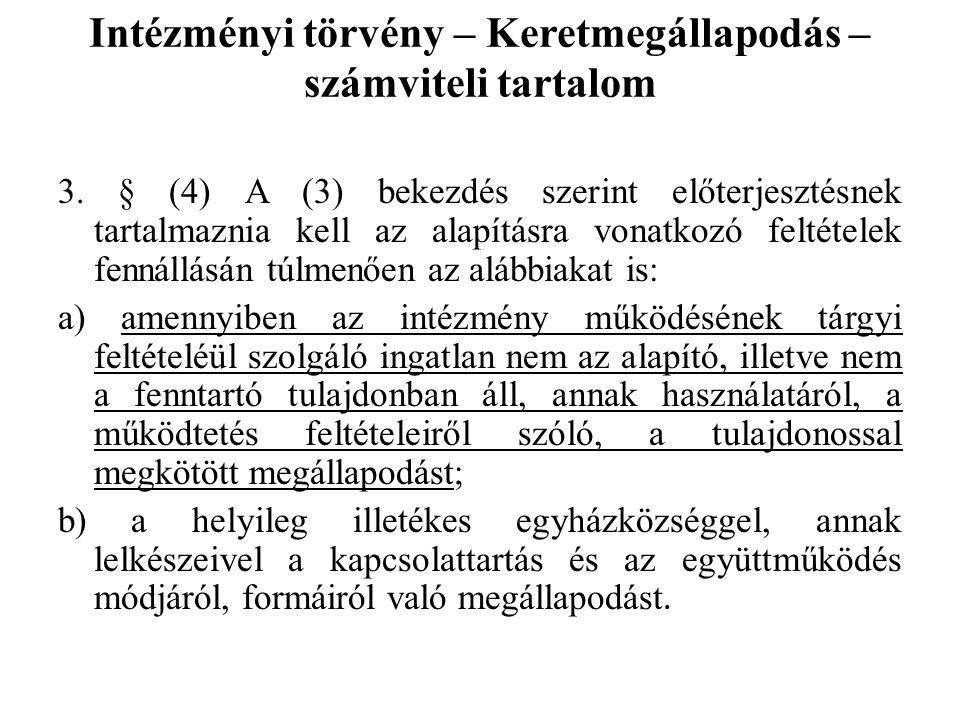 Intézményi törvény – Keretmegállapodás – számviteli tartalom 3. § (4) A (3) bekezdés szerint előterjesztésnek tartalmaznia kell az alapításra vonatkoz