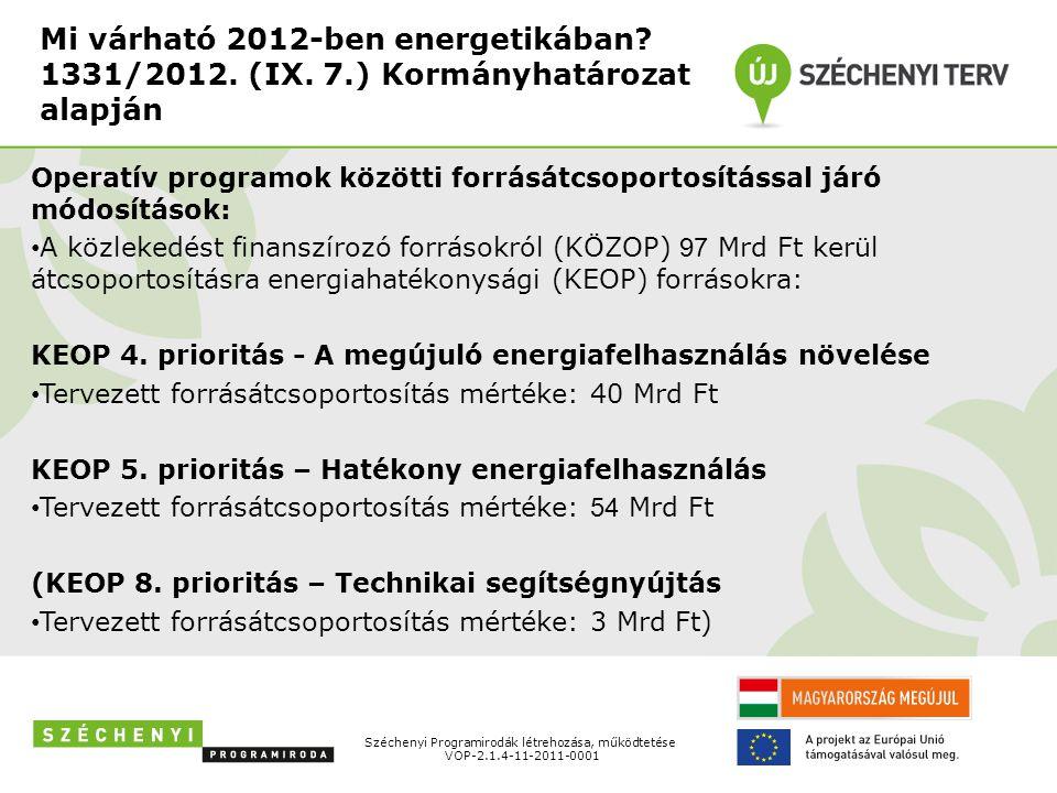 Mi várható 2012-ben energetikában? 1331/2012. (IX. 7.) Kormányhatározat alapján Operatív programok közötti forrásátcsoportosítással járó módosítások: