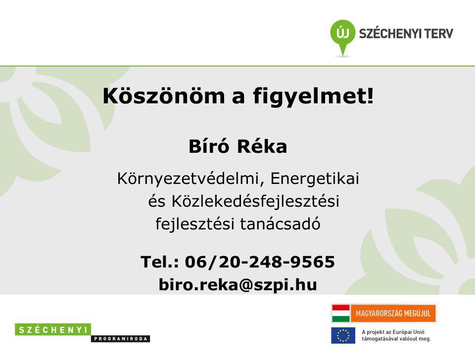Köszönöm a figyelmet! Bíró Réka Környezetvédelmi, Energetikai és Közlekedésfejlesztési fejlesztési tanácsadó Tel.: 06/20-248-9565 biro.reka@szpi.hu