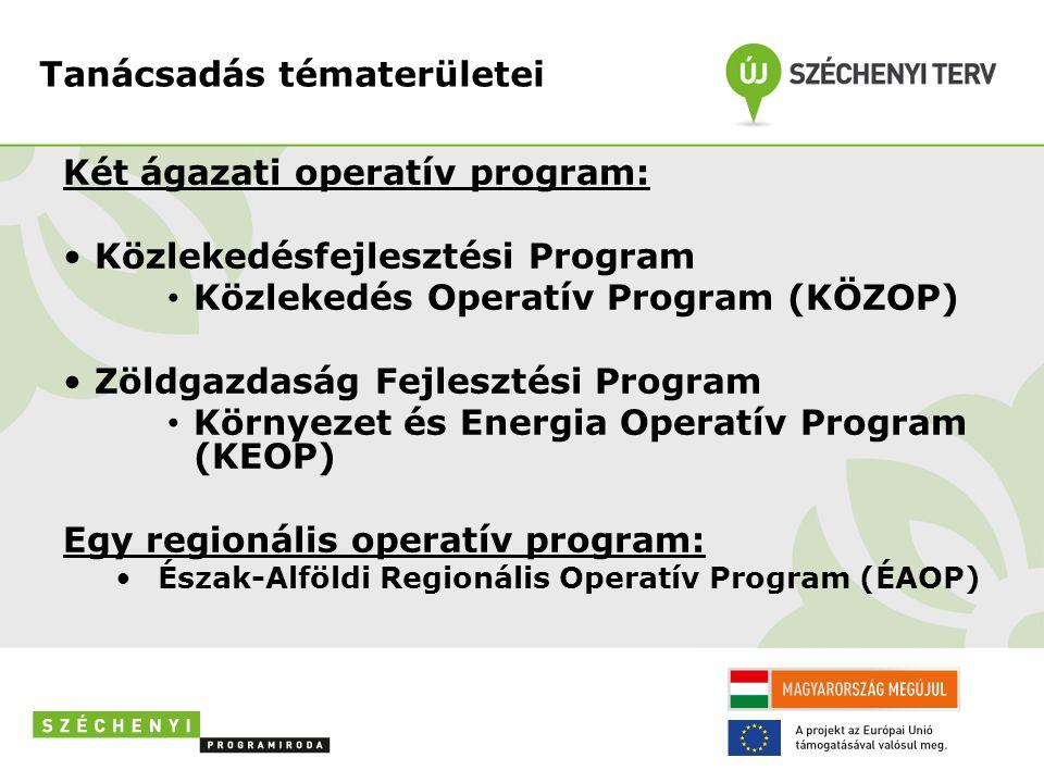 Tanácsadás tématerületei Két ágazati operatív program: • Közlekedésfejlesztési Program • Közlekedés Operatív Program (KÖZOP) • Zöldgazdaság Fejlesztés