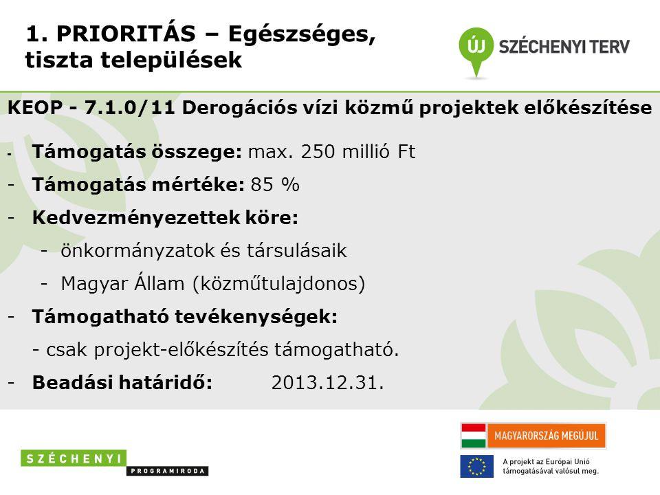 1. PRIORITÁS – Egészséges, tiszta települések KEOP - 7.1.0/11 Derogációs vízi közmű projektek előkészítése - Támogatás összege: max. 250 millió Ft -Tá