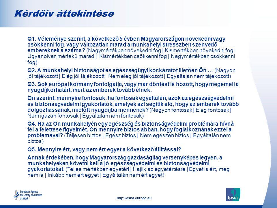 3 http://osha.europa.eu Kérdőív áttekintése  Q1.
