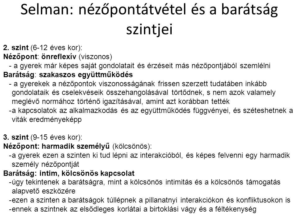 Selman: nézőpontátvétel és a barátság szintjei 2.
