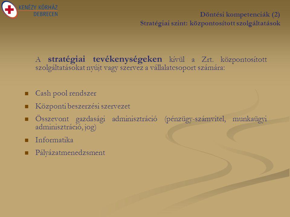 Döntési kompetenciák (2) Stratégiai szint: központosított szolgáltatások A stratégiai tevékenységeken kívül a Zrt.