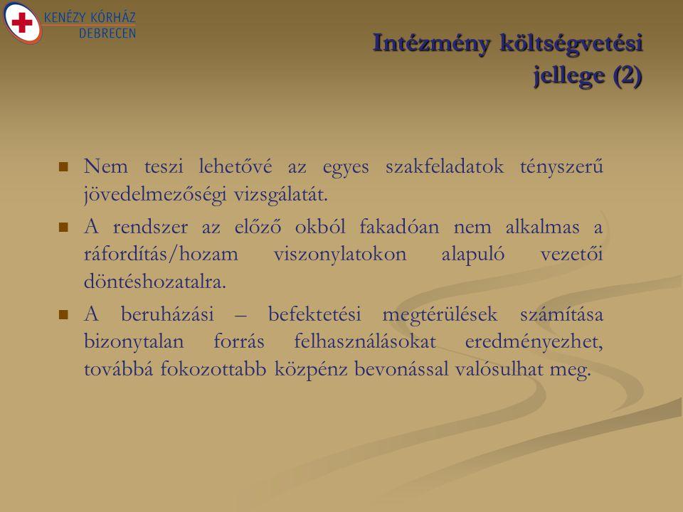 Intézmény költségvetési jellege (2)   Nem teszi lehetővé az egyes szakfeladatok tényszerű jövedelmezőségi vizsgálatát.