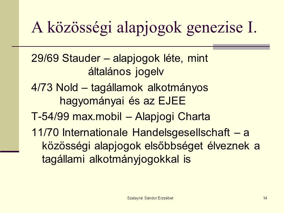 Szalayné Sándor Erzsébet14 A közösségi alapjogok genezise I.