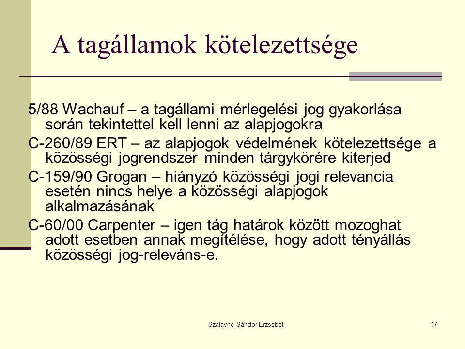 Szalayné Sándor Erzsébet17 A tagállamok kötelezettsége 5/88 Wachauf – a tagállami mérlegelési jog gyakorlása során tekintettel kell lenni az alapjogokra C-260/89 ERT – az alapjogok védelmének kötelezettsége a közösségi jogrendszer minden tárgykörére kiterjed C-159/90 Grogan – hiányzó közösségi jogi relevancia esetén nincs helye a közösségi alapjogok alkalmazásának C-60/00 Carpenter – igen tág határok között mozoghat adott esetben annak megítélése, hogy adott tényállás közösségi jog-releváns-e.
