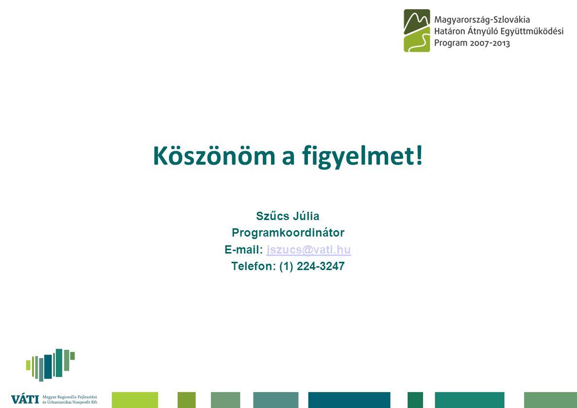 Köszönöm a figyelmet! Szűcs Júlia Programkoordinátor E-mail: jszucs@vati.hujszucs@vati.hu Telefon: (1) 224-3247