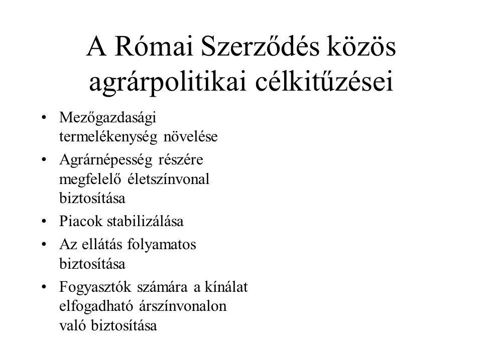 A Római Szerződés közös agrárpolitikai célkitűzései •Mezőgazdasági termelékenység növelése •Agrárnépesség részére megfelelő életszínvonal biztosítása