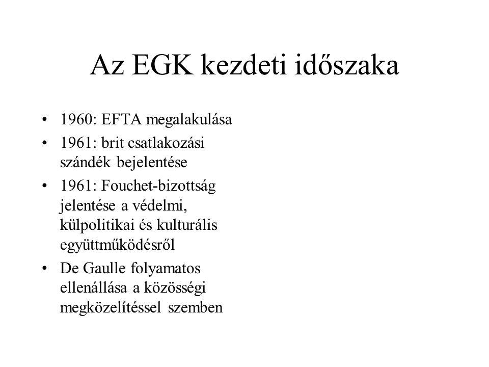 Az EGK kezdeti időszaka •1960: EFTA megalakulása •1961: brit csatlakozási szándék bejelentése •1961: Fouchet-bizottság jelentése a védelmi, külpolitik