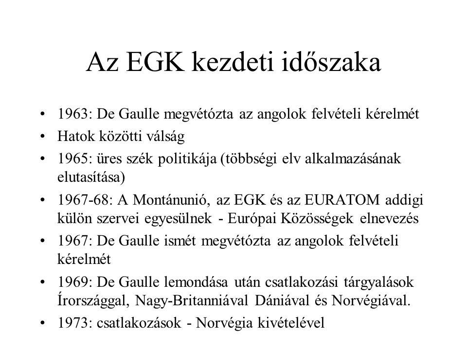 Az EGK kezdeti időszaka •1963: De Gaulle megvétózta az angolok felvételi kérelmét •Hatok közötti válság •1965: üres szék politikája (többségi elv alka