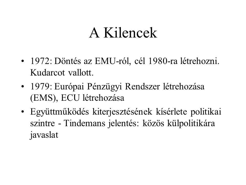 A Kilencek •1972: Döntés az EMU-ról, cél 1980-ra létrehozni. Kudarcot vallott. •1979: Európai Pénzügyi Rendszer létrehozása (EMS), ECU létrehozása •Eg