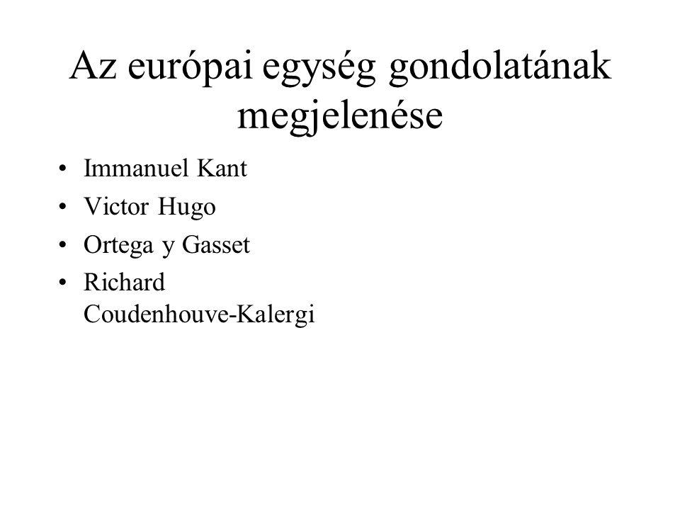 Az európai egység gondolatának megjelenése •Immanuel Kant •Victor Hugo •Ortega y Gasset •Richard Coudenhouve-Kalergi