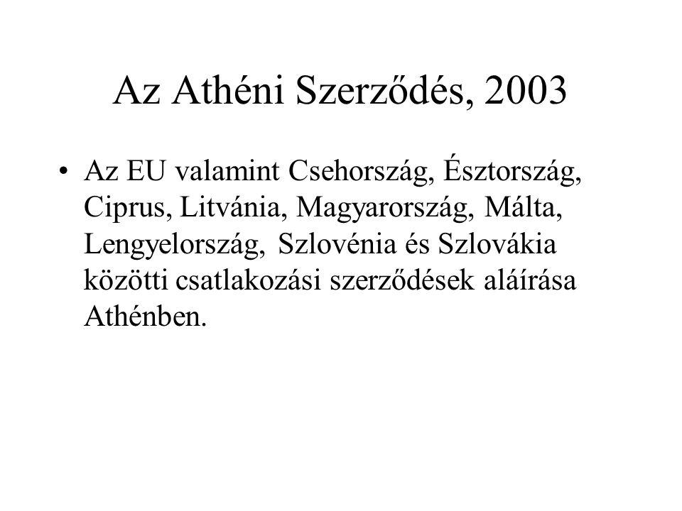 Az Athéni Szerződés, 2003 •Az EU valamint Csehország, Észtország, Ciprus, Litvánia, Magyarország, Málta, Lengyelország, Szlovénia és Szlovákia közötti