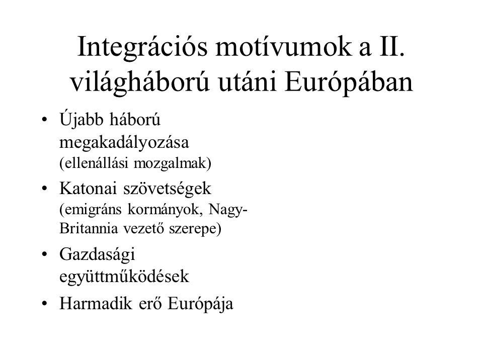 Az integráció fontosabb előzményei •Feltartóztatási doktrina (1947 eleje) •Marschall-terv (1948) 17 milliárd $ •Európai Gazdasági Együttműködési Szervezet (1948-1961) •Szovjet-amerikai kapcsolatok megromlása - hidegháború •NATO (1949), Európa Tanács (1949) •föderalista (közös parlament, közös kormány, közös gazdaságpolitika) -konföderalista (kormányközi együttműködés) elképzelések harca