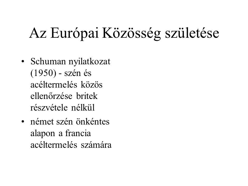 Az Európai Közösség születése •Schuman nyilatkozat (1950) - szén és acéltermelés közös ellenőrzése britek részvétele nélkül •német szén önkéntes alapo