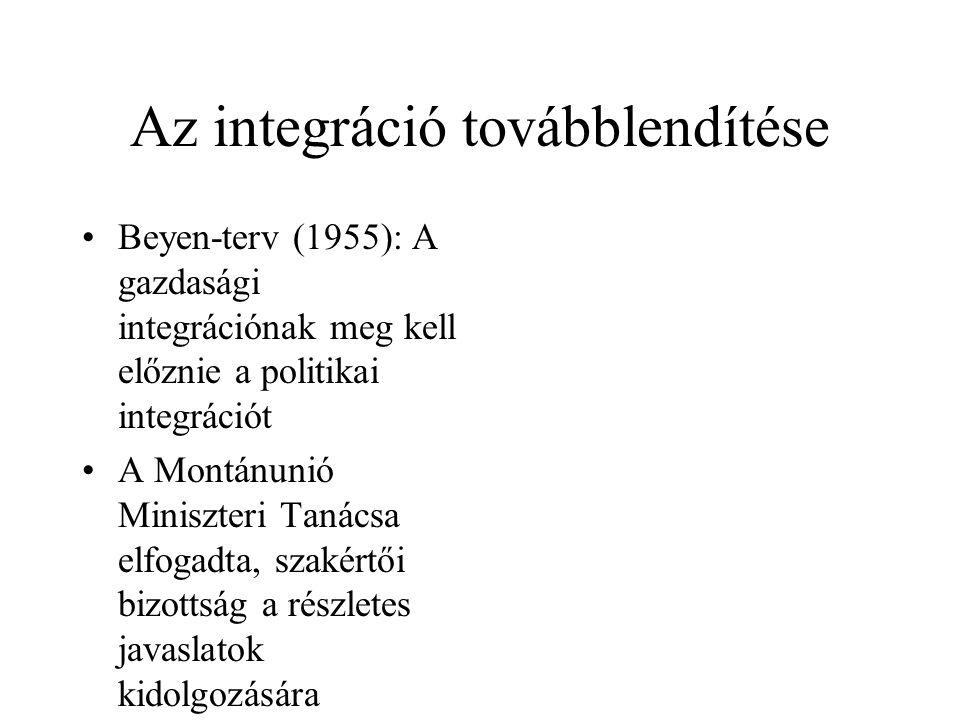 Az integráció továbblendítése •Beyen-terv (1955): A gazdasági integrációnak meg kell előznie a politikai integrációt •A Montánunió Miniszteri Tanácsa