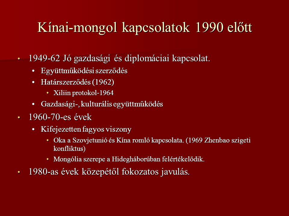 Kínai-mongol kapcsolatok 1990 előtt • 1949-62 Jó gazdasági és diplomáciai kapcsolat.