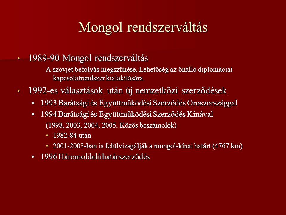Mongol rendszerváltás • 1989-90 Mongol rendszerváltás A szovjet befolyás megszűnése. Lehetőség az önálló diplomáciai kapcsolatrendszer kialakítására.