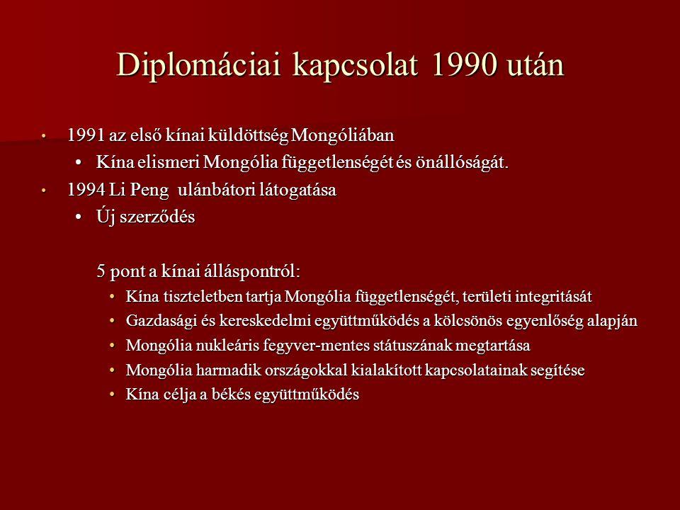 Diplomáciai kapcsolat 1990 után • 1991 az első kínai küldöttség Mongóliában •Kína elismeri Mongólia függetlenségét és önállóságát. • 1994 Li Peng ulán