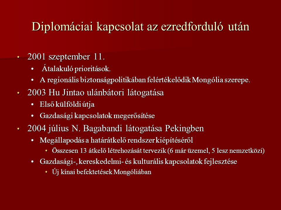 Diplomáciai kapcsolat az ezredforduló után • 2001 szeptember 11. • Átalakuló prioritások. •A regionális biztonságpolitikában felértékelődik Mongólia s