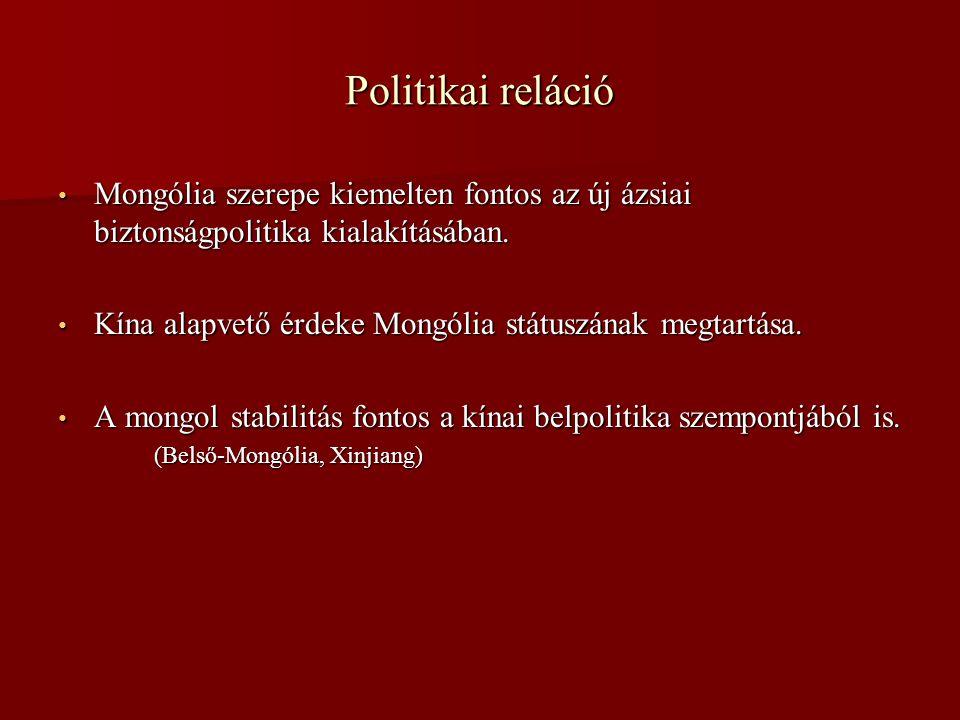 Politikai reláció • Mongólia szerepe kiemelten fontos az új ázsiai biztonságpolitika kialakításában. • Kína alapvető érdeke Mongólia státuszának megta