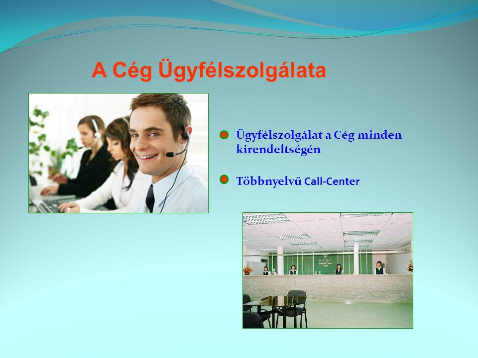 A Cég Ügyfélszolgálata Ügyfélszolgálat a Cég minden kirendeltségén Többnyelvű Call-Center