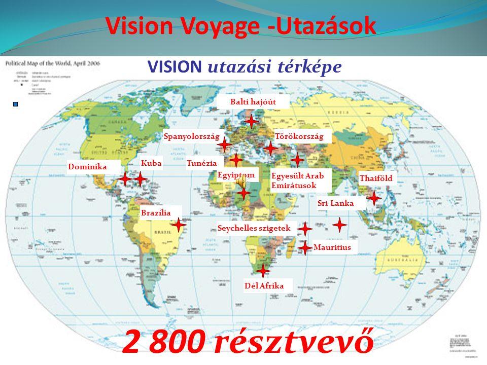 VISION utazási térképe Kuba Dominika Brazília SpanyolországTörökország Egyiptom Egyesült Arab Emirátusok Sri Lanka Thaiföld Seychelles szigetek Mauritius Tunézia Balti hajóút Dél Afrika Vision Voyage -Utazások 2 800 résztvevő