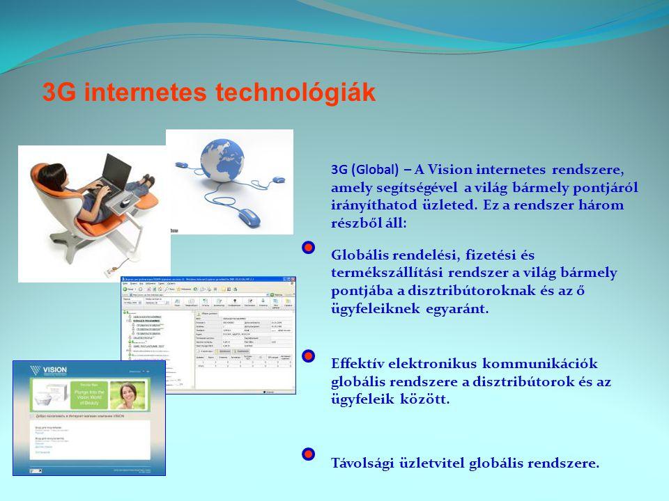 3G internetes technológiák 3G (Global) – A Vision internetes rendszere, amely segítségével a világ bármely pontjáról irányíthatod üzleted.
