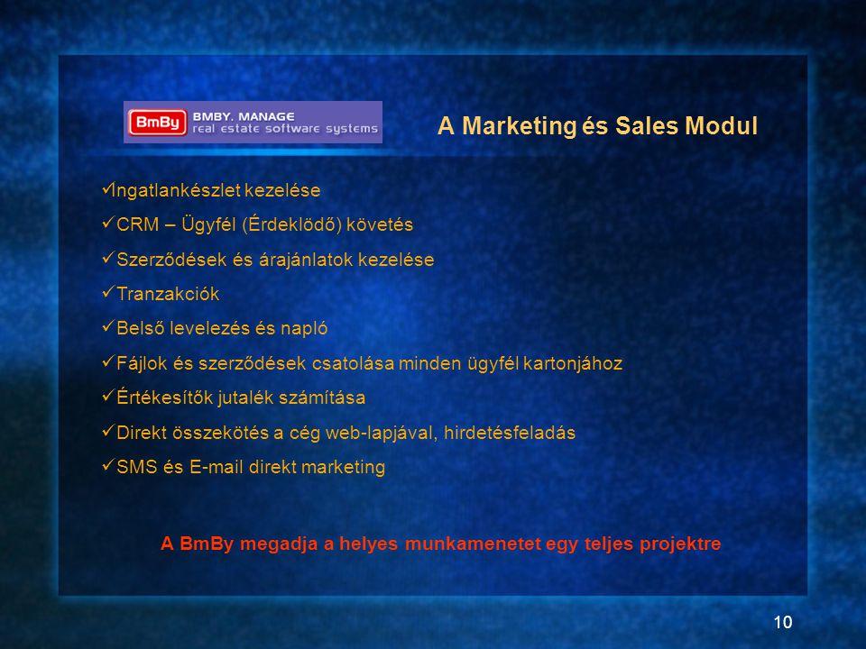 10 A Marketing és Sales Modul  Ingatlankészlet kezelése  CRM – Ügyfél (Érdeklödő) követés  Szerződések és árajánlatok kezelése  Tranzakciók  Bels