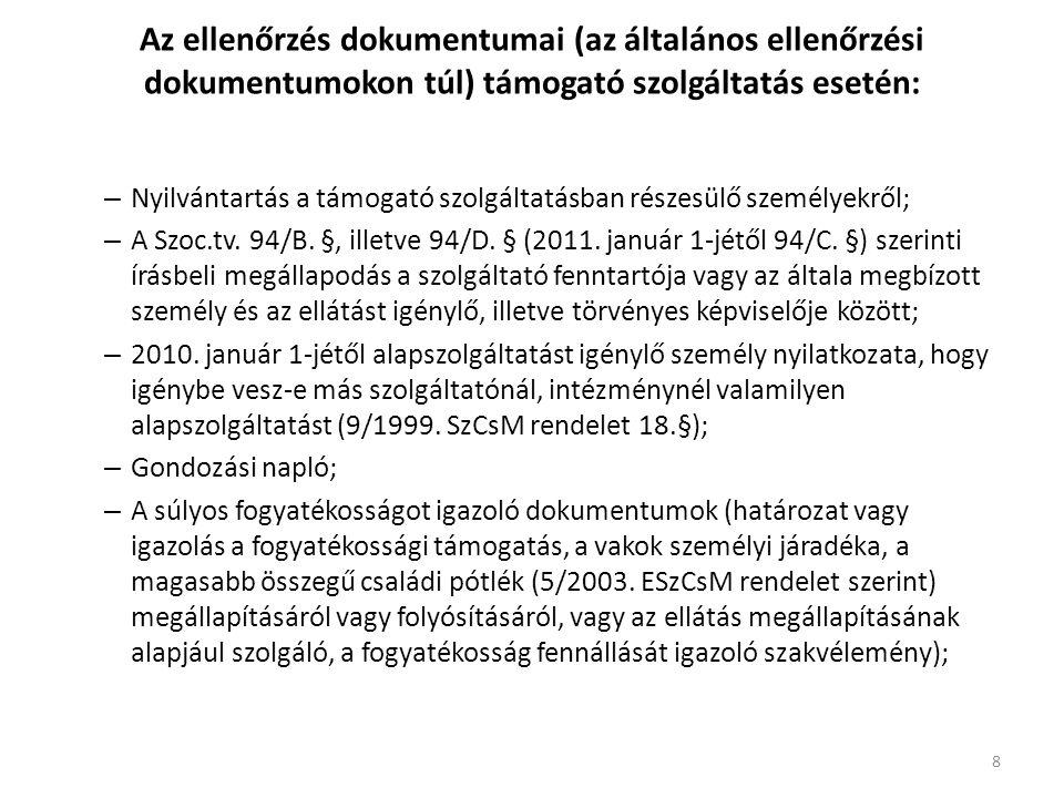 Az ellenőrzés dokumentumai (az általános ellenőrzési dokumentumokon túl) támogató szolgáltatás esetén: – Nyilvántartás a támogató szolgáltatásban részesülő személyekről; – A Szoc.tv.