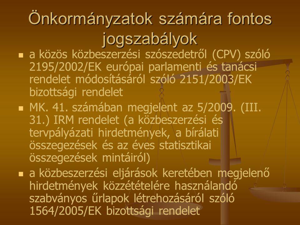 Önkormányzatok számára fontos jogszabályok   a közös közbeszerzési szószedetről (CPV) szóló 2195/2002/EK európai parlamenti és tanácsi rendelet módo