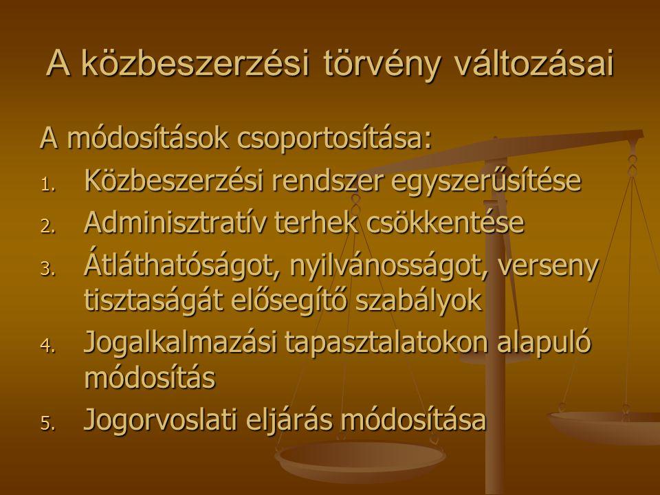 A közbeszerzési törvény változásai A módosítások csoportosítása: 1. Közbeszerzési rendszer egyszerűsítése 2. Adminisztratív terhek csökkentése 3. Átlá