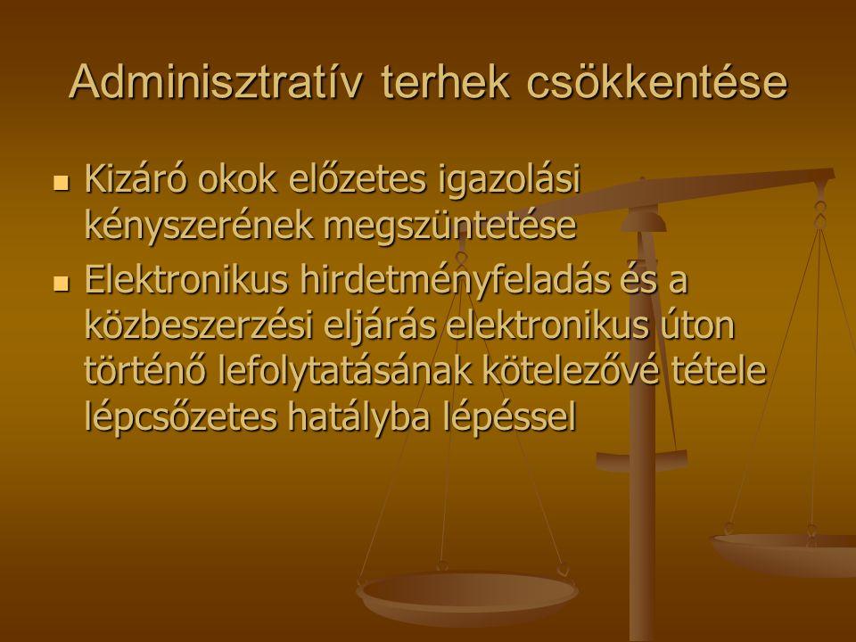 Adminisztratív terhek csökkentése  Kizáró okok előzetes igazolási kényszerének megszüntetése  Elektronikus hirdetményfeladás és a közbeszerzési eljá