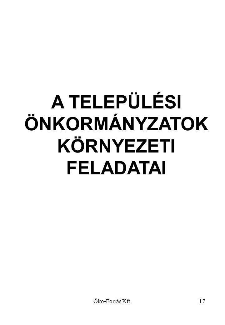 Öko-Forrás Kft.17 A TELEPÜLÉSI ÖNKORMÁNYZATOK KÖRNYEZETI FELADATAI