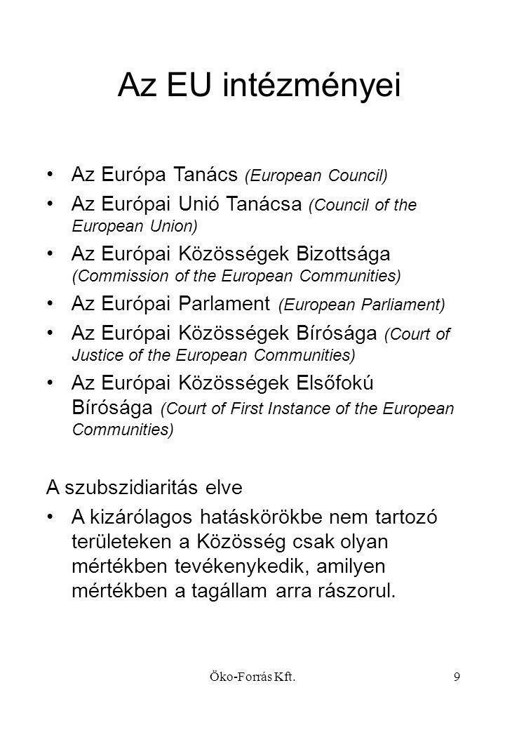 Öko-Forrás Kft.9 Az EU intézményei •Az Európa Tanács (European Council) •Az Európai Unió Tanácsa (Council of the European Union) •Az Európai Közösségek Bizottsága (Commission of the European Communities) •Az Európai Parlament (European Parliament) •Az Európai Közösségek Bírósága (Court of Justice of the European Communities) •Az Európai Közösségek Elsőfokú Bírósága (Court of First Instance of the European Communities) A szubszidiaritás elve •A kizárólagos hatáskörökbe nem tartozó területeken a Közösség csak olyan mértékben tevékenykedik, amilyen mértékben a tagállam arra rászorul.